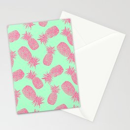 Pineapple Pattern - Mint & Crimson Stationery Cards