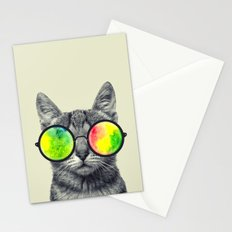 psychedelic feline Stationery Cards