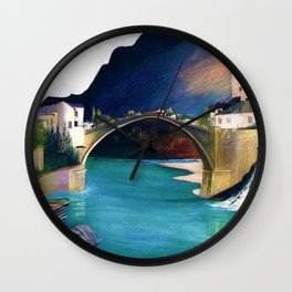 Mostar Old Town Panorama, Stari Most Bridge, Bosnia and Herzegovina by Tivadar Csontváry Kosztka Wall Clock