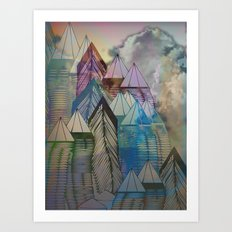 Triangular Endings on the Top Above the Clouds / Urban 04-11-16 Art Print