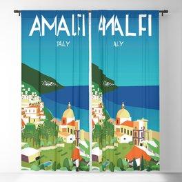 Amalfi Italy vintage travel poster city Blackout Curtain