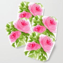 Pink Peonies in Watercolor Coaster