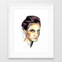 emma watson Framed Art Prints featuring Emma Watson by caffeboy