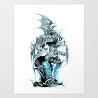 dragons Art Prints featuring dragons by Moonlight Creations