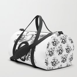 Grunge skulls and roses (afro skull included. Black and white version) Duffle Bag