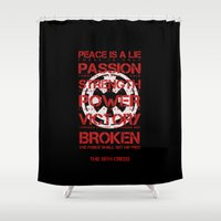 sith Shower Curtains featuring The Sith Creed by JuyoDesign