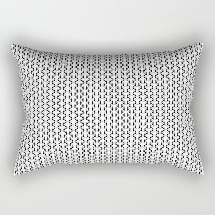 Black and White Basket Weave Shape Pattern 2 - Graphic Design Rectangular Pillow