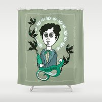 writer Shower Curtains featuring Rimbaud Holy Writer by roberto lanznaster