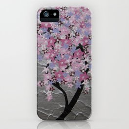 Cherry blossom, in pink and purple, with silver background - zen picture iPhone Case