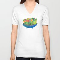 succulents V-neck T-shirts featuring Succulents by Cat Coquillette