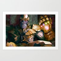 thanos Art Prints featuring Thanos: Infinity Gauntlet  by MATT DEMINO