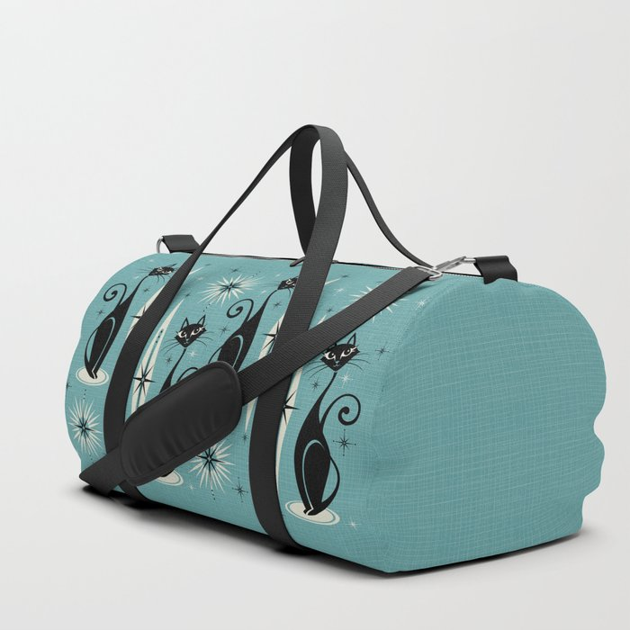 Mid Century Meow Retro Atomic Cats on Blue Duffle Bag