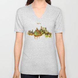 Boston watercolor skyline Unisex V-Neck