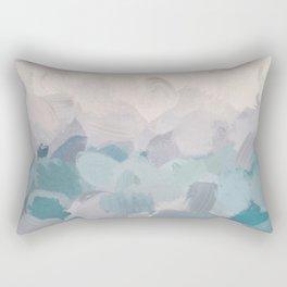 Teal Aqua Purple Lavender Abstract Wall Art Ocean Clouds Painting Print Rectangular Pillow