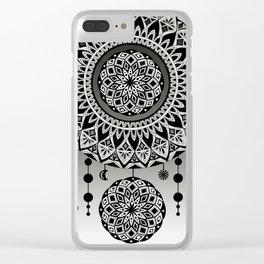 Mandala Dream Catcher (Black & White) Clear iPhone Case