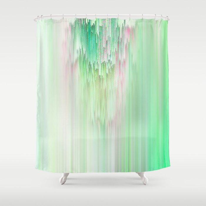 Abstract Cascade Glitch 1.Green Shower Curtain