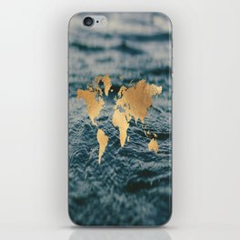 Gold Map in Water iPhone Skin