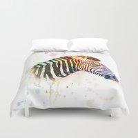 zebra Duvet Covers featuring Zebra by emegi