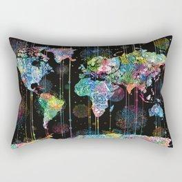 world map mandala black 1 Rectangular Pillow