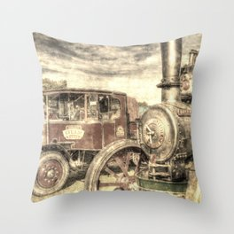 Steam Lorry And Traction Engine Vintage Throw Pillow