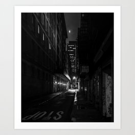 Back Alley Beauty in Black and White Art Print