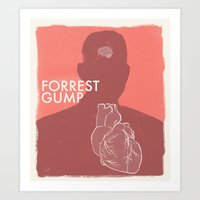forrest gump Art Prints featuring Forrest Gump - Movie Poster by Joel Amat Güell