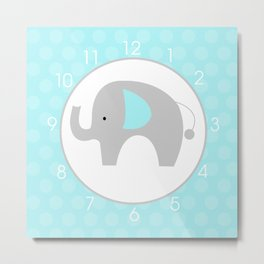 Mod Elephant Teal Metal Print