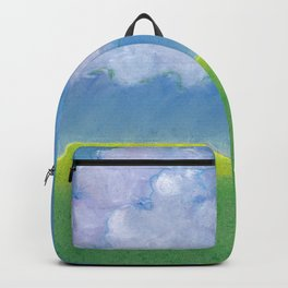 Simple pastel landscape with horizon, clouds and grass Backpack