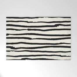 Tribal Stripes Black Earth on Ivory Cream Welcome Mat