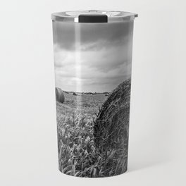Nostalgia - Hay Bales in Kansas Field in Black and White Travel Mug