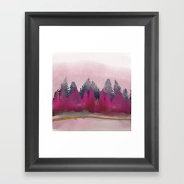 snow winter frozen forest Framed Art Print