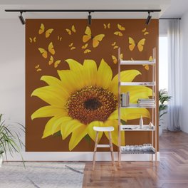 COFFEE BROWN YELLOW SUNFLOWER & BUTTERFLIES Wall Mural