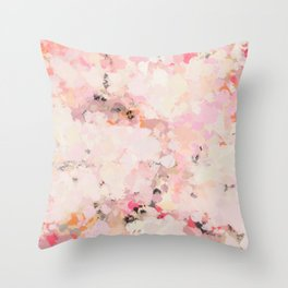 Abstract in Ivory Orange and Pink Throw Pillow