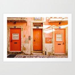 Portugal Door Ombre Orange and Coral Doors in the Alfama, Lisbon, Portugal Art Print