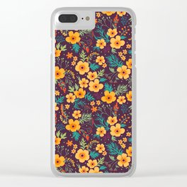 Floral pattern. Buttercups yellow. Violet background. Clear iPhone Case