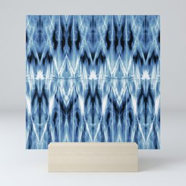 Blue Satin Shibori Argyle Mini Art Print