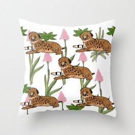 Serval Kittens Print  Throw Pillow