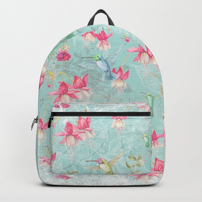 Vintage Watercolor hummingbird and Fuchsia Flowers on mint Background Backpack