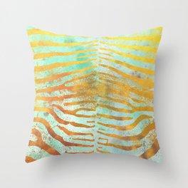 Zebra Stripes | Celadon & Gold | Watercolor Animal Print Art Throw Pillow