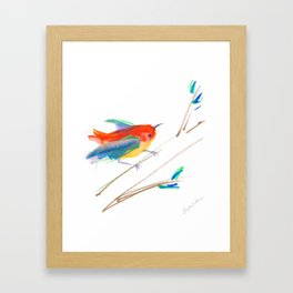 Bird on a Branch n Bright Colors Framed Art Print