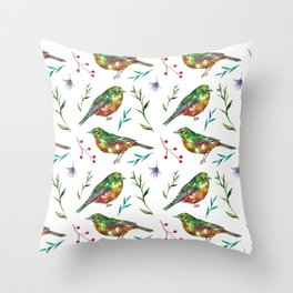 Garden Waxeyes Pattern Throw Pillow
