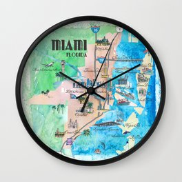 Miami Florida Fine Art Print Retro Vintage Map with Touristic Highlights Wall Clock