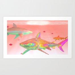 Candy Sharks Art Print