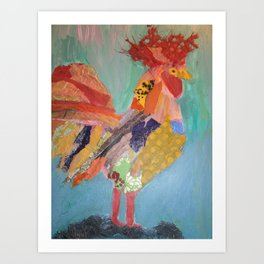 "Roosters, ""Perched"" Art Print"