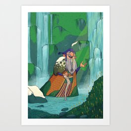 Waterfall Hermit Art Print