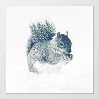 squirrel Canvas Prints featuring squirrel by Peg Essert