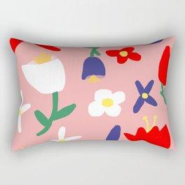 Large Handdrawn Bacchanal Floral Pop Art Print Rectangular Pillow