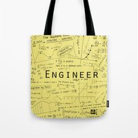 engineer Tote Bags featuring Yellow - Engineer by Be Raza