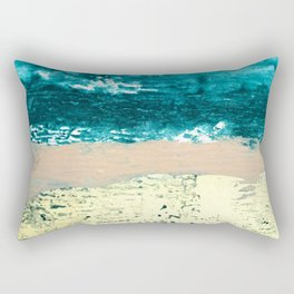 Darling: a bold, abstract, mixed-media piece in gold, teal, and pink Rectangular Pillow
