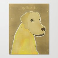 labrador Canvas Prints featuring yellow labrador by bri.buckley